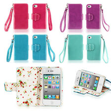 IZENGATE Floral Wallet PU Leather Flip Case Cover Folio for Apple iPhone 4 4G 4S