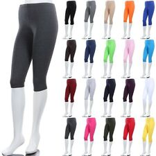 Women's Solid Plain COTTON BASIC CAPRI Leggings Below Knee Stretchable S M L 1XL