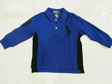 New with tag Ralph Lauren Boys Blue Black Longsleeve Polo Shirt 2T 3T Big Pony