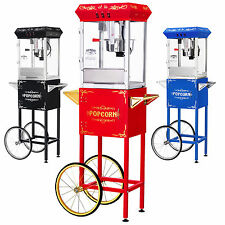 GNP Foundation Popcorn Machine 8oz Popcorn Popper w/Cart 8 Ounce Red-Black-Blue!