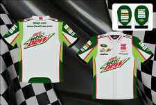 Dale Earnhardt Jr NASCAR Shirt Diet Mtn Dew Pit Crew Shirt Green Gray