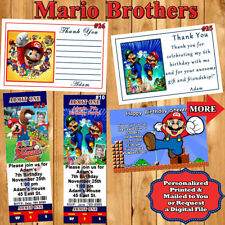 Super Mario Brothers Birthday Invitation 10 ea or Thank You Cards 10 ea Perszd