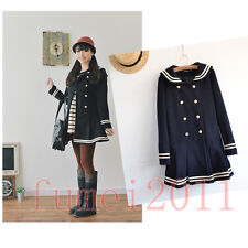 Women Sailor Naval Style Coat Lolita College double-breasted Overcoat Uniform