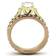 Two Tone IP Gold Stainless Steel Women Wedding/Engagement 2 RINGS SET SZ 5-10