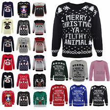 New Womens Mens Novelty Xmas Jumper Knitted Sweater Warm Winter Reindeer Rudolph