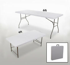 Outdoor 6'/4'Long Plastic Picnic Table Center-Folding Portable BBQ Dining Camp