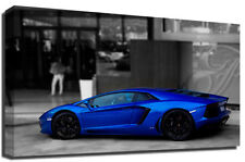 Blue Lamborghini Aventador Sports Car Photography Premium Framed Canvas Art P...