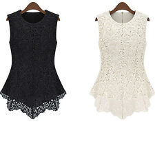 Women Celebrity Style Vintage Sleeveless Lace Tank Tops Peplum Fit Floral Blouse