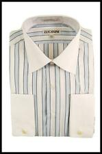 Mens New Lucasini Striped 100% Cotton Reg Cuffs Collar Dress Shirt Light Blue
