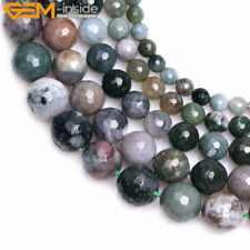 Natural Round Faceted Indian Agate Gemstone DIY Jewelry Making Beads Strand 15""