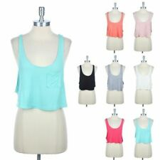 Drop Armhole Cropped Tank Top with Chest Pocket Scoop Neck Solid Relaxed S M L