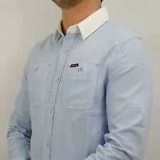 Mens Firetrap Brittania Fitted Blue Long Sleeve Shirt Cotton