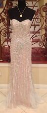 NEW JOVANI 4343 SILVER NUDE SWEETHEART LONG JEWEL COCKTAIL EVENING DRESS GOWN