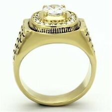 One Carat CZ Gold IP Stainless Steel Mens Wedding/Engagement Ring SZ 8-13