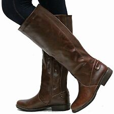 New Womens BM77 Brown Riding Knee High Boots Sz 5.5 to 10