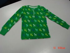 NWT Girls Faded Glory Thermal Henley Button Down Shirt Green Deer Reindeer
