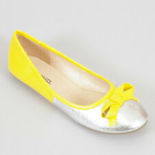 WOMAN SHOES CLASSIC BALLET FLAT HEEL YELLOW SILVER METALLIC FABRIC COMFY SOFT