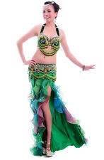 New Gorgeous Belly Dance Costume 3 Pics Bra&Belt&Skirt 34B/C 36B/C 38B/C 6 Color