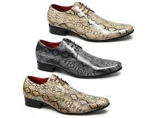 Mens Faux Snakeskin Leather Lace-Up Formal Soft Pointed Shoes Yellow/Beige/Black