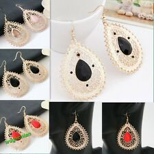 Simple Elegant Classical Womens Hollow-out Waterdrop Charm Earrings 4 Colors