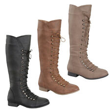 Top Mod COCO-39 Women's Military Lace Up Knee High Combat Boot
