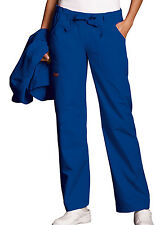 Galaxy Blue Cherokee Workwear Low Rise Drawstring Cargo Scrub Pants 4020 GABW