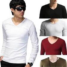 Vogue Men's Basic Tee Casual T-Shirts Long Sleeve V-Neck Tops Gym Sports Tee New