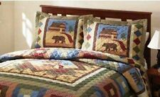 HUNTING CABIN Full / Queen or King QUILT SET - TIMBER BEAR MOOSE LODGE COMFORTER