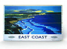 East Cost By LNER Railway Travel Wooden Wall Art Ready To Hang New