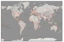 World Map In Sliver And Orange Large Wall Poster New - Laminated Available