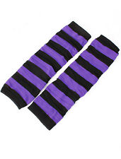 Ladies Stripe Print Toeless Elastic Winter Leg Warmer Socks Pair