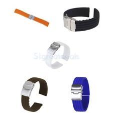 Mens Silicone Rubber Watch Strap Band Waterproof Replacement Deployment Clasp