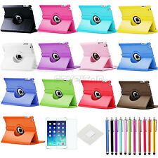For New iPad 4 3 2 360 Rotating Leather Case Smart Cover Stand w/ Film + Stylus