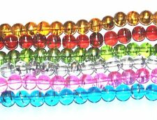 GLASS OILY DRIZZLE COLOURED DRAWBENCH ROUND BEADS - Choose your size / colour