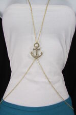 New Women Gold / Silver Metal Body Chain Jewelry Sailor Fashion Necklace Anchor