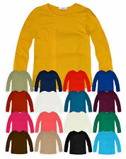 Kids Plain Top Girls Long Sleeve Tee T Shirt Stretch Fit Teen New Age 2-14 yrs