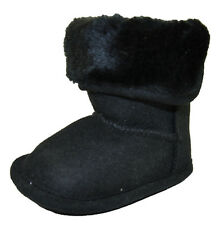 Stepping Stones Infant Girls Black Plush Fur Cuff Boot Size 3/6M 6/9M