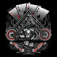 BRAND NEW LET IT RIDE ACES CHOPPER MOTORBIKE TShirts Small to 5XL BLACK or WHITE