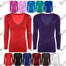 Womens Ladies Plain V Neck Jersey Stretchy Casual Long Sleeves Tee T Shirt Top