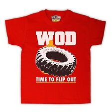 WOD FLIP OUT WORKOUT OF THE DAY TYRE TIRE GYM KIDS T SHIRT TEE ALL SIZES & COLS