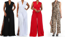 PLUS SIZE XL 2XL 3XL Birthday Party Double Slit Leg Deep V-neck Plain Jumpsuit