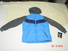 NWT Boys Pacific Trail Layered Look Vest 2 Tone Blue Gray Sleeves Sporty Jacket