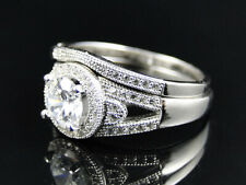 Ladies Sterling Silver 2 Piece Halo Solitaire Lab Diamond Engagement Bridal Ring