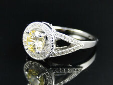 Ladies Sterling Silver Canary Halo Solitaire Lab Diamond Engagement Bridal Ring