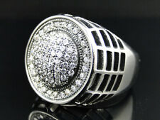 Mens White Gold Finish Stainless Steel White Lab Diamond 3D Webbed Pinky Ring