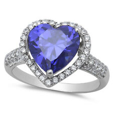 EXCLUSIVE! HALO TANZANITE HEART SOLITAIRE .925 STERLING SILVER RING SIZES 6-10
