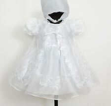 New Baby Christening Gown Cape Bonnet Newborn To 9 Months