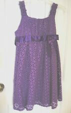 Bonnie Jean  89653  Fully Lined Purple Eyelet Dress Girl's Plus Size:  12.5  NWT