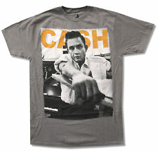 """JOHNNY CASH """"ROLLED UP"""" PHOTO PORTRAIT GREY T-SHIRT NEW OFFICIAL ADULT"""