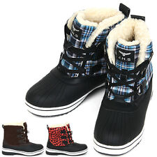New Trendy Lace Up Shearling Womens Winter Snow Warm Colorful Boots Shoes